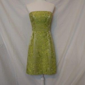 Ann Taylor Yellow Green Floral Strapless Dress